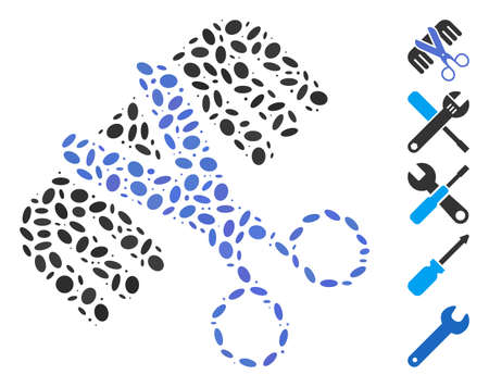 Dotted Mosaic based on hairdressing tools. Mosaic vector hairdressing tools is created with random oval items. Bonus icons are added.