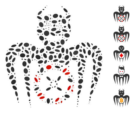 Dot Mosaic based on roulette mad spectre devil. Mosaic vector roulette mad spectre devil is designed with random oval elements. Bonus icons are added. Illusztráció