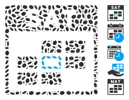 Dotted Mosaic based on Saturday calendar grid. Mosaic vector Saturday calendar grid is created with random elliptic spots. Bonus icons are added.