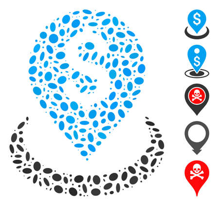 Dot Mosaic based on bank placement. Mosaic vector bank placement is formed with random ellipse spots. Bonus icons are added.