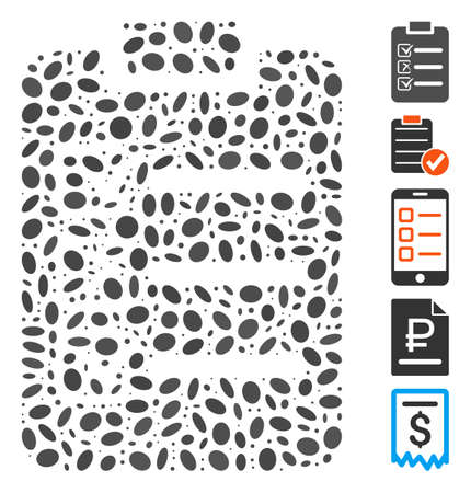 Dotted Mosaic based on check list. Mosaic vector check list is formed with scattered elliptic elements. Bonus icons are added.