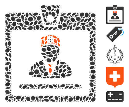 Dotted Mosaic based on doctor badge. Mosaic vector doctor badge is designed with randomized oval items. Bonus icons are added. Illustration