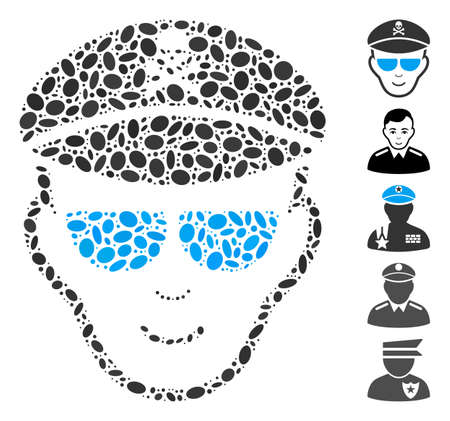 Dot Mosaic based on evil soldier face. Mosaic vector evil soldier face is composed with random oval dots. Bonus icons are added.