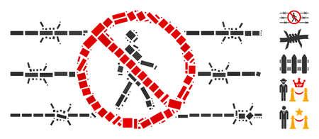 Dotted Mosaic based on no trespassing fence. Mosaic vector no trespassing fence is composed with scattered rectangular dots. Bonus icons are added. Illusztráció