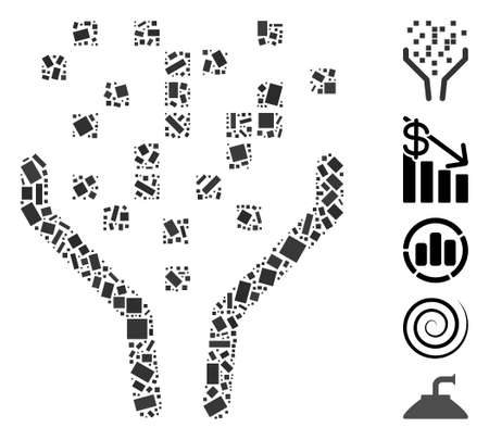 Dotted Mosaic based on data processing funnel. Mosaic vector data processing funnel is designed with random rectangular dots. Bonus icons are added. Vektorgrafik