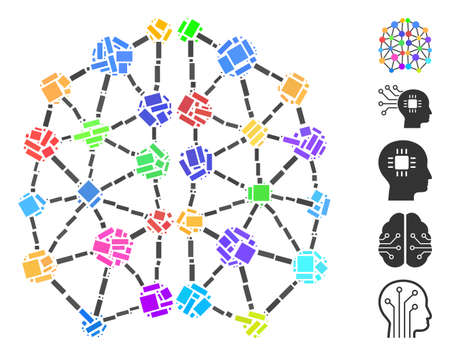 Dotted Mosaic based on artificial brain. Mosaic vector artificial brain is composed with random rectangular dots. Bonus icons are added. Illustration