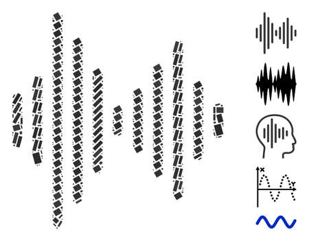 Dotted Mosaic based on audio signal. Mosaic vector audio signal is created with scattered rectangular items. Bonus icons are added.