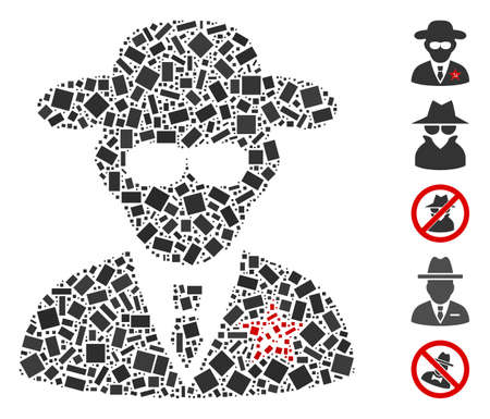 Dotted Mosaic based on KGB spy. Mosaic vector KGB spy is designed with scattered rectangle dots. Bonus icons are added.