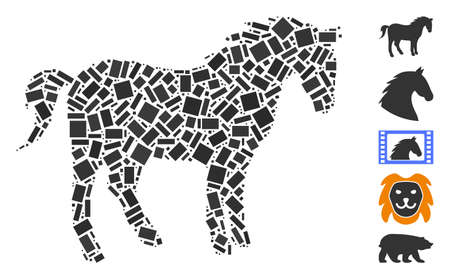 Dotted Mosaic based on horse. Mosaic vector horse is composed with randomized rectangle elements. Bonus icons are added.