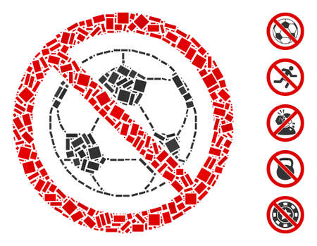 Dot Mosaic based on no football. Mosaic vector no football is formed with randomized rectangle elements. Bonus icons are added.  イラスト・ベクター素材