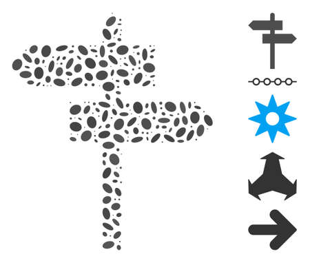 Dotted Mosaic based on road pointer. Mosaic vector road pointer is formed with randomized elliptic elements. Bonus icons are added.  イラスト・ベクター素材