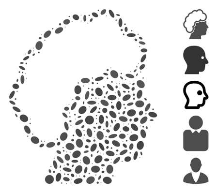 Dot Mosaic based on blonde profile. Mosaic vector blonde profile is composed with random elliptic items. Bonus icons are added.