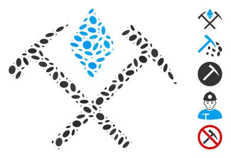 Dotted Mosaic based on Ethereum mining hammers. Mosaic vector Ethereum mining hammers is composed with randomized elliptic items. Bonus icons are added.