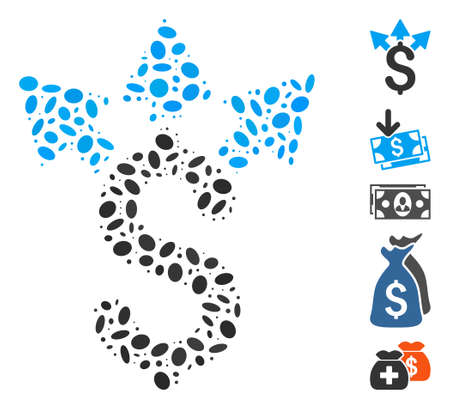Dot Mosaic based on split payment. Mosaic vector split payment is designed with randomized oval spots. Bonus icons are added.