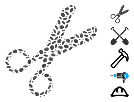 Dot Mosaic based on scissors. Mosaic vector scissors is designed with randomized oval dots. Bonus icons are added.