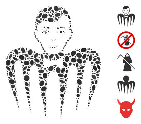 Dot Mosaic based on croupier spectre monster. Mosaic vector croupier spectre monster is formed with scattered elliptic dots. Bonus icons are added. Illustration