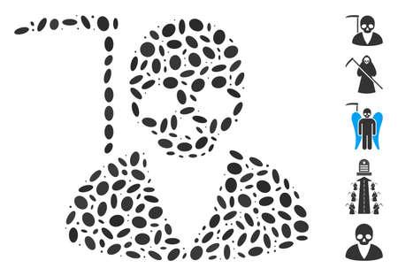 Dot Mosaic based on scytheman. Mosaic vector scytheman is composed with random oval elements. Bonus icons are added. Illustration