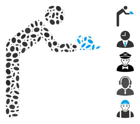 Dot Mosaic based on servant person. Mosaic vector servant person is composed with randomized ellipse items. Bonus icons are added.