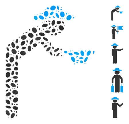 Dot Mosaic based on gentleman beggar. Mosaic vector gentleman beggar is formed with randomized elliptic elements. Bonus icons are added. Stock Illustratie