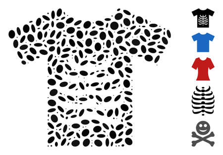 Dotted Mosaic based on skeleton T-shirt. Mosaic vector skeleton T-shirt is created with scattered oval dots. Bonus icons are added.