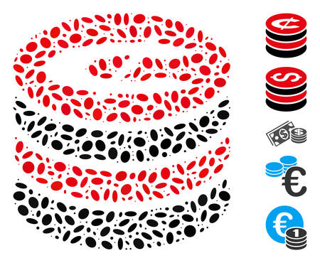 Dotted Mosaic based on cent coins stack. Mosaic vector cent coins stack is created with random ellipse spots. Bonus icons are added.