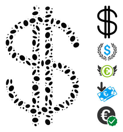 Dotted Mosaic based on dollar. Mosaic vector dollar is formed with randomized elliptic spots. Bonus icons are added. Illustration