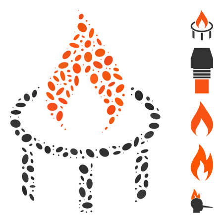 Dotted Mosaic based on burner nozzle flame. Mosaic vector burner nozzle flame is designed with randomized oval spots. Bonus icons are added. Vector Illustration