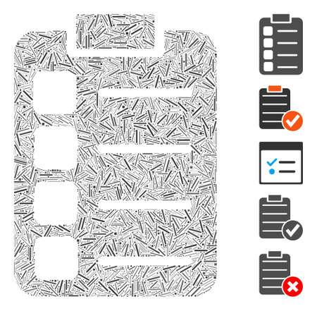 Line Mosaic based on tasks icon. Mosaic vector tasks is composed with random dash spots. Bonus icons are added.