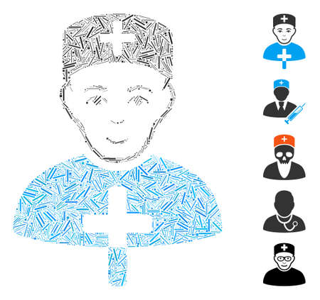 Line Mosaic based on church doctor icon. Mosaic vector church doctor is composed with random line spots. Bonus icons are added.