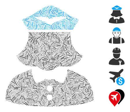 Dash Mosaic based on airline stewardess icon. Mosaic vector airline stewardess is formed with scattered dash elements. Bonus icons are added.