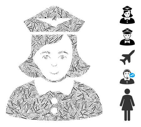 Dash Mosaic based on airline stewardess icon. Mosaic vector airline stewardess is created with random dash elements. Bonus icons are added.