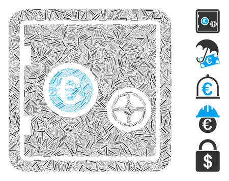 Hatch Mosaic based on Euro safe icon. Mosaic vector Euro safe is designed with scattered hatch elements. Bonus icons are added.