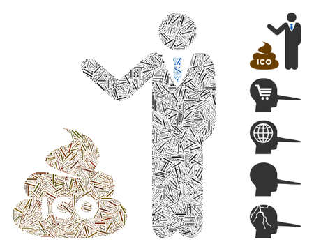 Hatch Mosaic based on businessman show ICO shit icon. Mosaic vector businessman show ICO shit is designed with scattered hatch dots. Bonus icons are added.