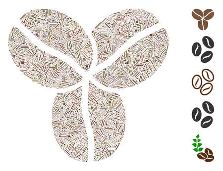 Line Mosaic based on coffee beans icon. Mosaic vector coffee beans is composed with random line spots. Bonus icons are added.  イラスト・ベクター素材