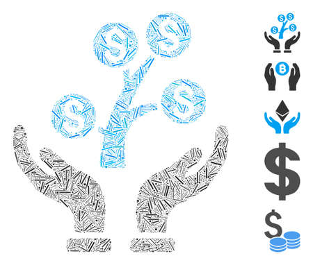 Line Mosaic based on money tree care hands icon. Mosaic vector money tree care hands is composed with random line dots. Bonus icons are added.