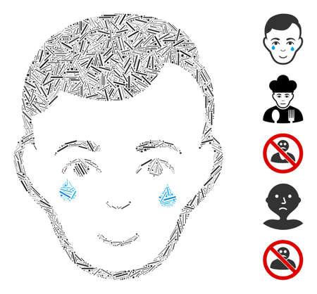 Dash Mosaic based on crying man face icon. Mosaic vector crying man face is designed with randomized dash items. Bonus icons are added. Vektorgrafik