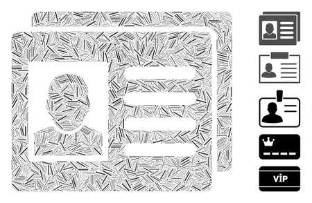 Hatch Mosaic based on user account cards icon. Mosaic vector user account cards is designed with randomized hatch elements. Bonus icons are added. Foto de archivo - 141868427