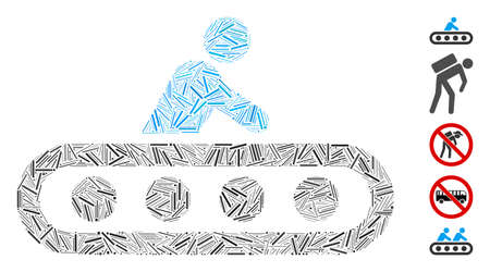 Line Mosaic based on passenger conveyor icon. Mosaic vector passenger conveyor is composed with random dash dots. Bonus icons are added. 일러스트
