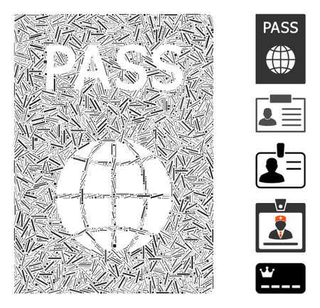 Hatch Mosaic based on passport icon. Mosaic vector passport is composed with randomized hatch spots. Bonus icons are added. Vectores