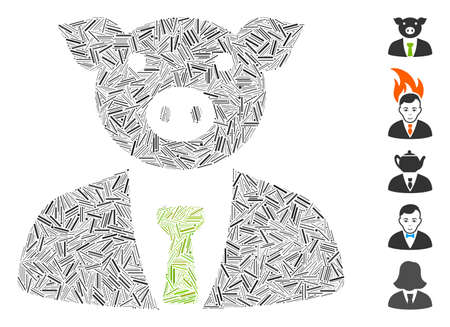 Line Mosaic based on pig boss icon. Mosaic vector pig boss is created with random line items. Bonus icons are added. Иллюстрация