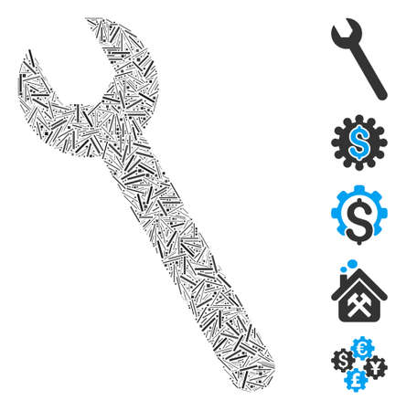 Hatch Mosaic based on wrench icon. Mosaic vector wrench is formed with scattered hatch spots. Bonus icons are added.