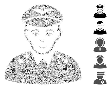 Hatch Collage based on military pilot officer icon. Mosaic vector military pilot officer is designed with scattered hatch items. Bonus icons are added. Çizim