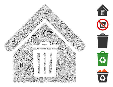 Dash Collage based on trash house icon. Mosaic vector trash house is created with randomized dash items. Bonus icons are added.
