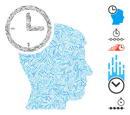 Line Mosaic based on time management head icon. Mosaic vector time management head is created with random line elements. Bonus icons are added.