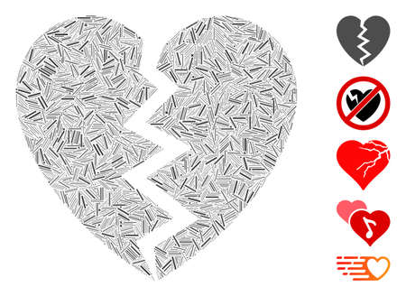 Dash Mosaic based on broken heart icon. Mosaic vector broken heart is formed with scattered dash spots. Bonus icons are added.