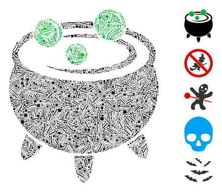 Hatch Mosaic based on cauldron icon. Mosaic vector cauldron is formed with randomized hatch items. Bonus icons are added.