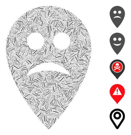 Dash Mosaic based on sad map marker icon. Mosaic vector sad map marker is composed with random dash dots. Bonus icons are added. Ilustração