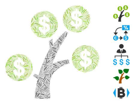 Dash Mosaic based on money tree icon. Mosaic vector money tree is composed with random dash dots. Bonus icons are added.