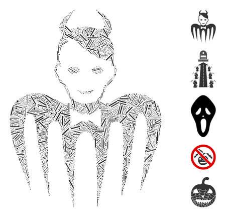 Line Mosaic based on devil spectre icon. Mosaic vector devil spectre is formed with random line spots. Bonus icons are added. Ilustração