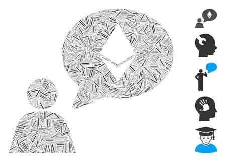 Dash Mosaic based on Ethereum thinking person icon. Mosaic vector Ethereum thinking person is created with random dash elements. Bonus icons are added.